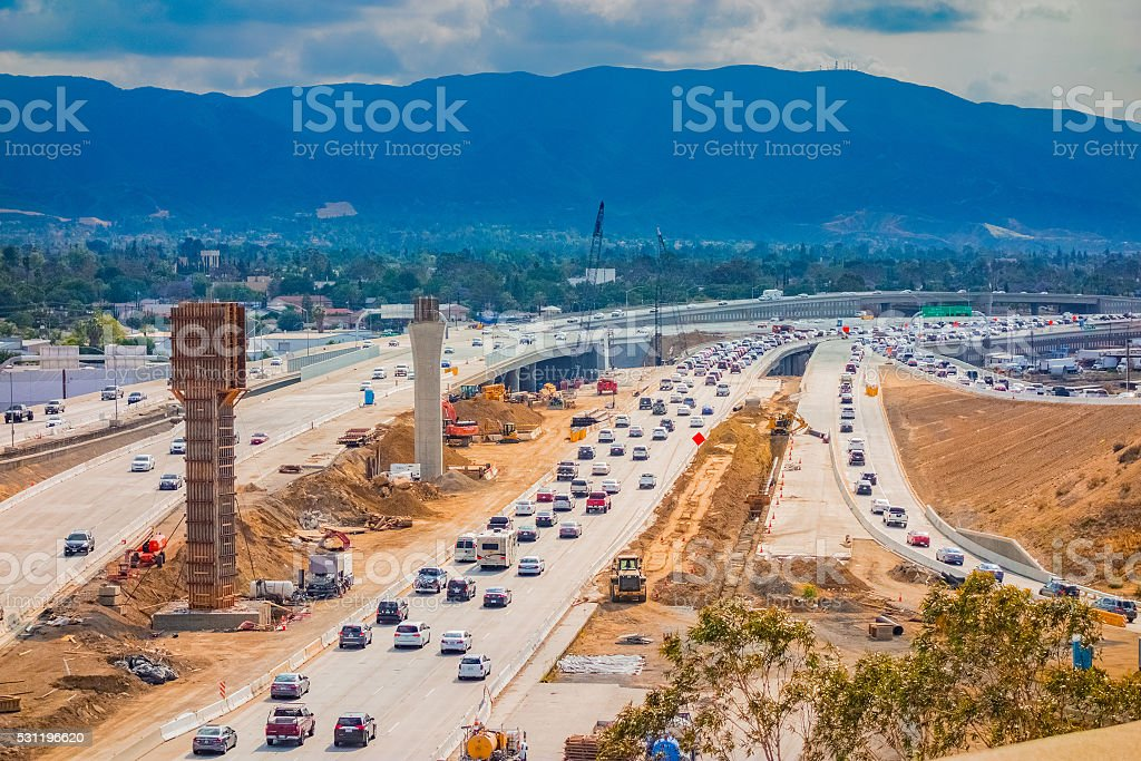 91 Freeway construction with traffic, Riverside, CA stock photo