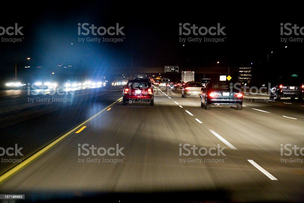 Freeway Drive At Night royalty-free stock photo