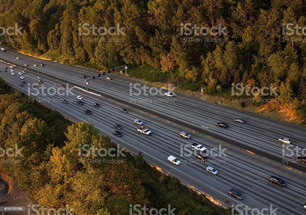 Freeway (Seattle) during sunset stock photo