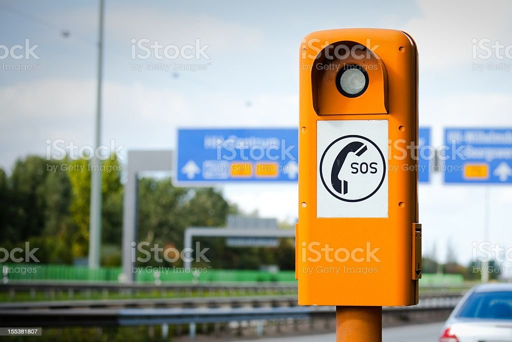 Freeway emergency call stock photo