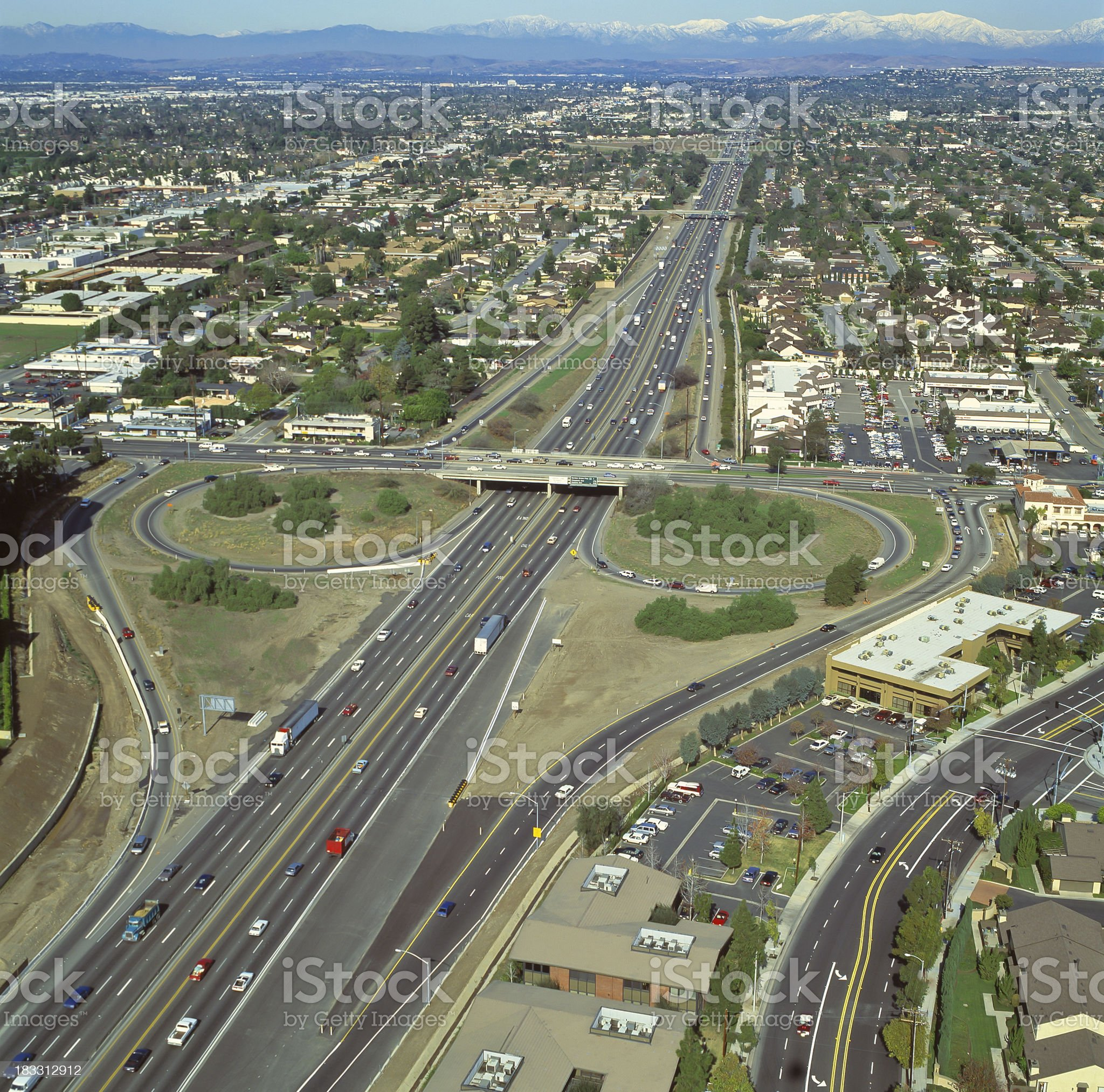 Freeway exchange in Southern California royalty-free stock photo
