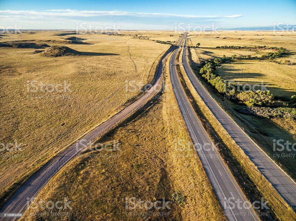 freeway in Colorado prairie stock photo