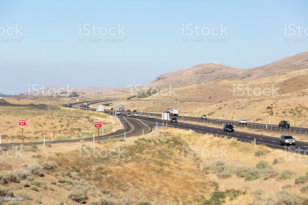 Freeway in Eastern Washington desert and plains area, USA stock photo