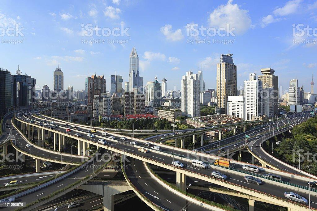 Freeway interchange, City life background. royalty-free stock photo