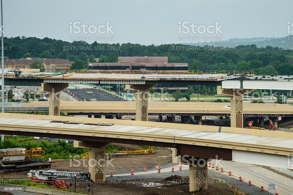 Freeway interchange overpasses under construction stock photo