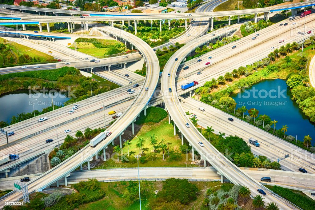 Freeway Intersection Aerial stock photo