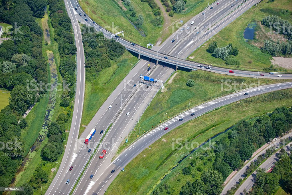Freeway intersection with on and off ramps royalty-free stock photo