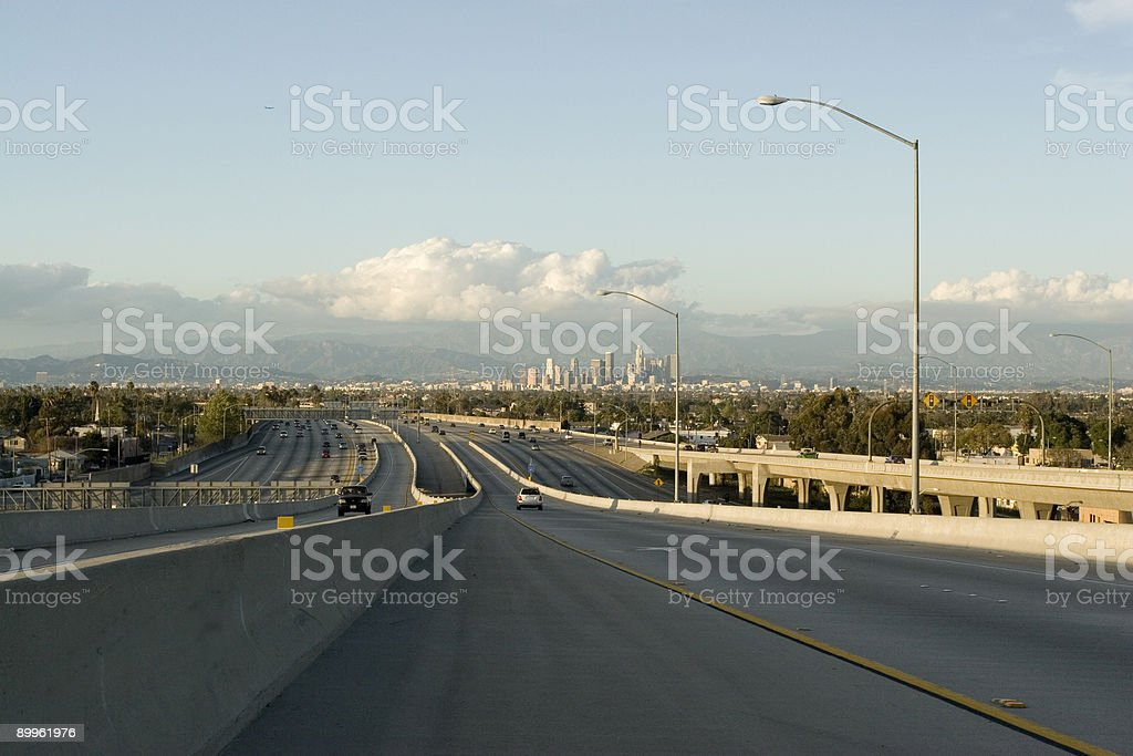 Freeway leading to LA downtown royalty-free stock photo