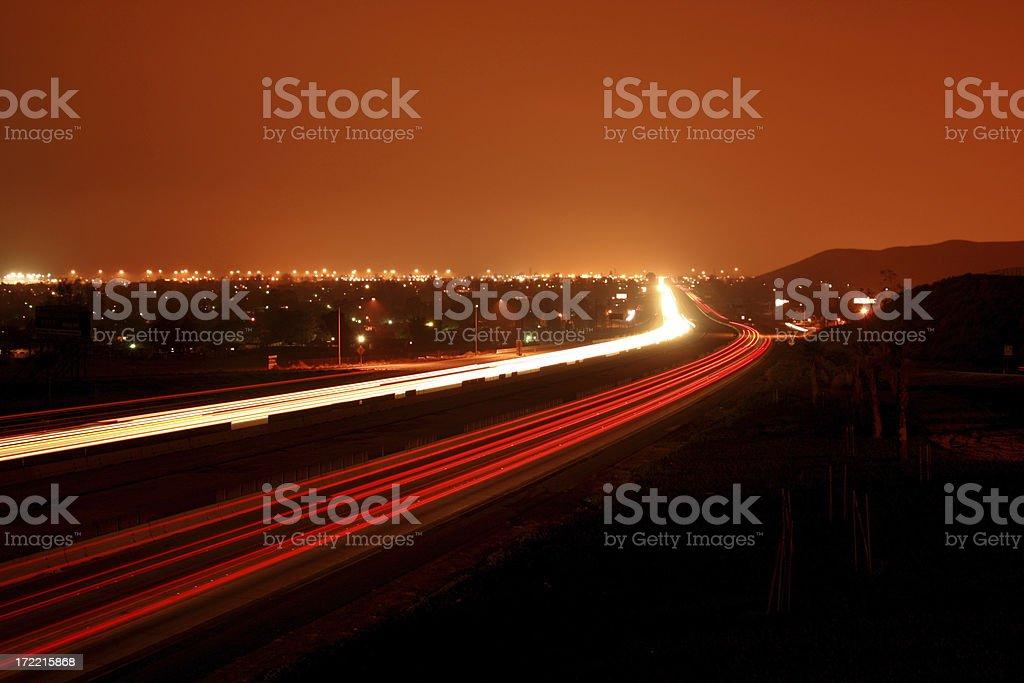 Freeway Lights @ Night stock photo