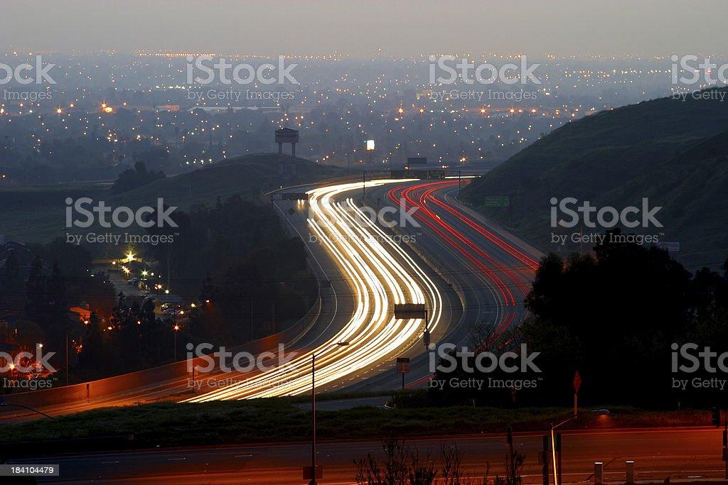 Freeway Lights royalty-free stock photo