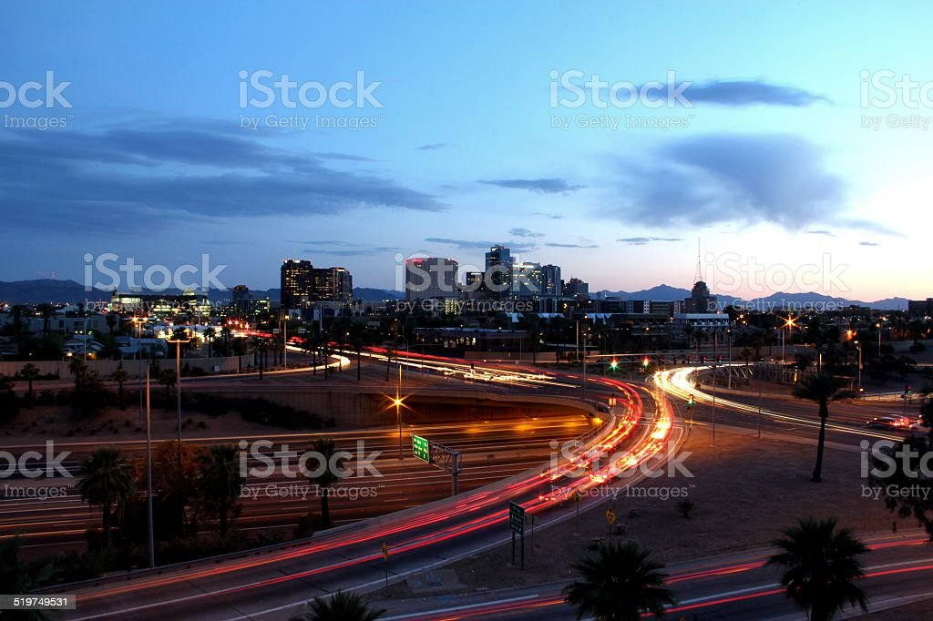 Freeway Overpass Light Trails stock photo