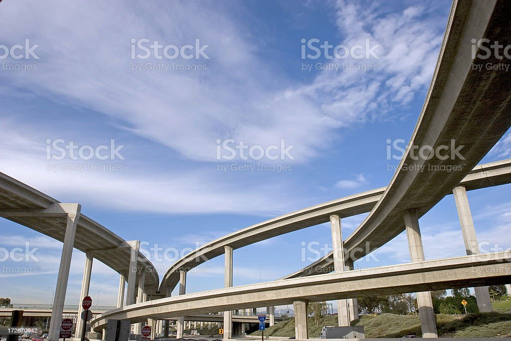Freeway ramps at qn interchange stock photo