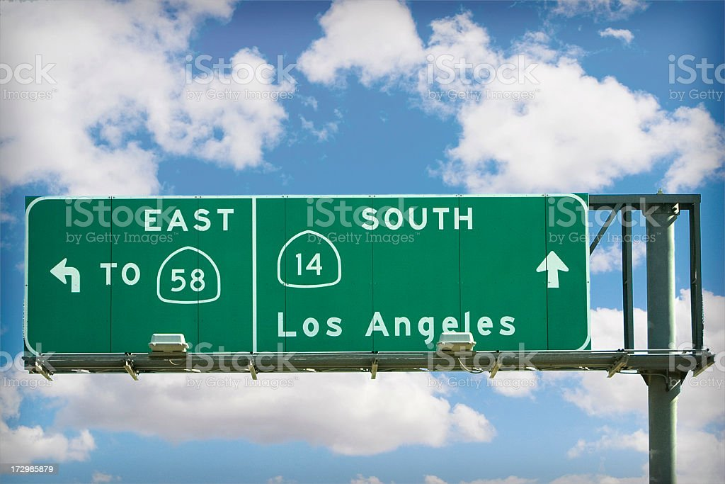 LA freeway sign stock photo