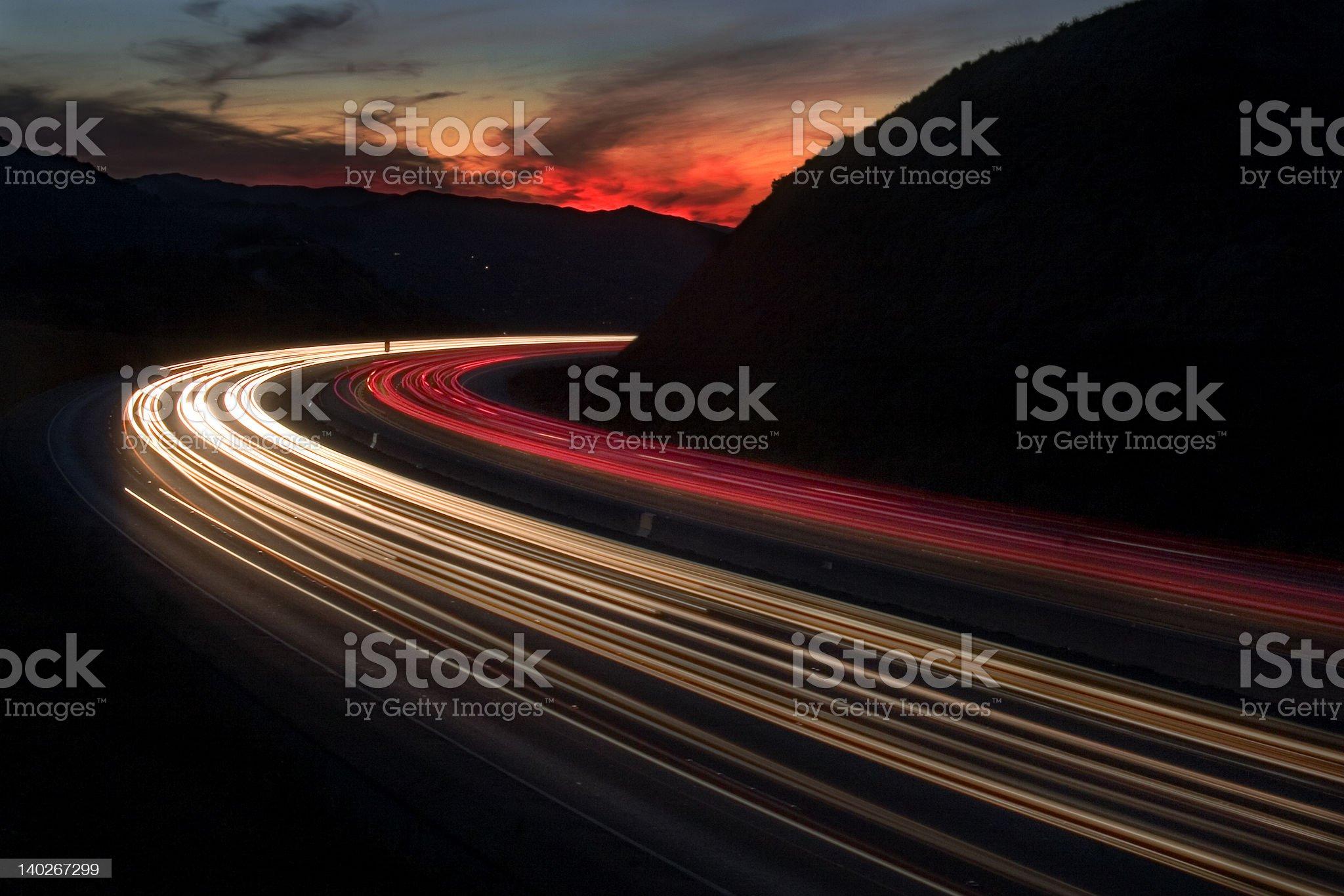Freeway sunset royalty-free stock photo