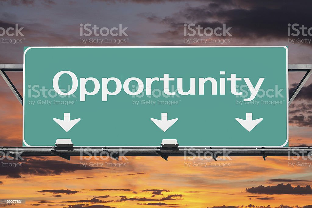 Freeway to Opportunity Road Sign stock photo