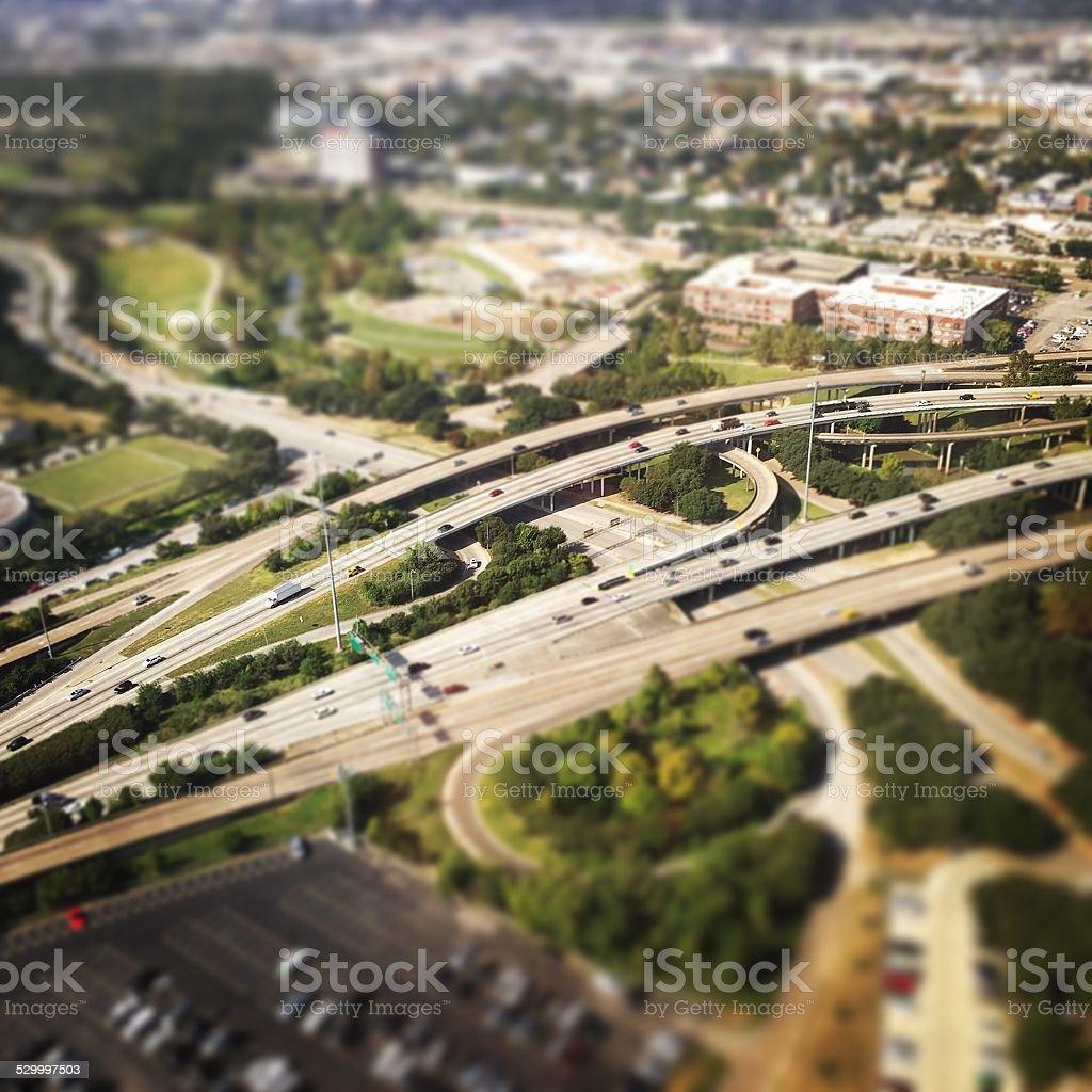 Freeway traffic in downtown Houston stock photo