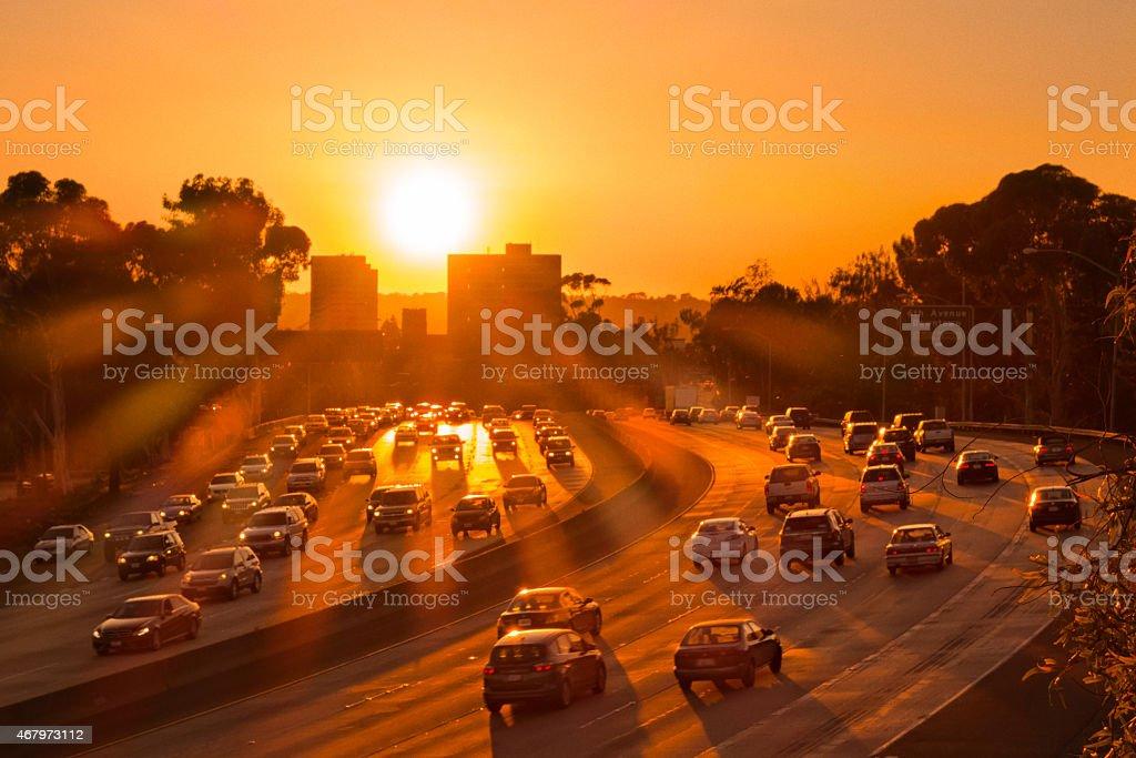 Freeway Traffic in San Diego California at Sunset stock photo