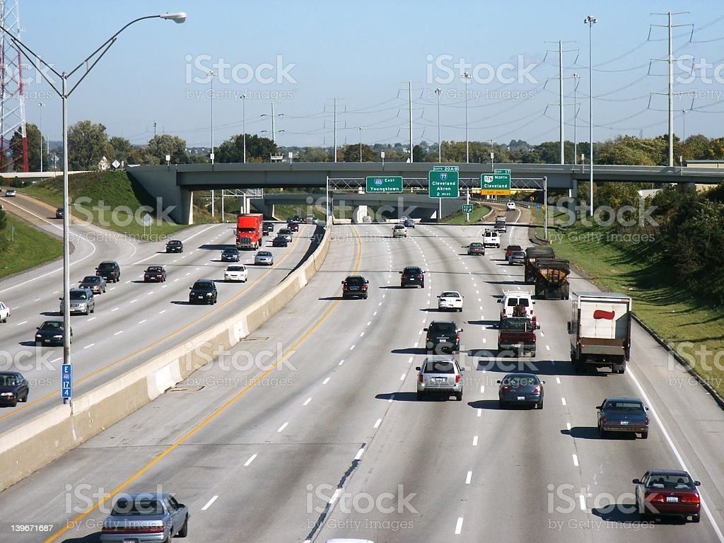 Freeway traffic on a clear day royalty-free stock photo