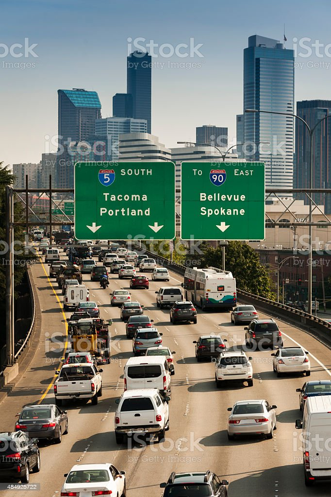 Freeway Traffic stock photo