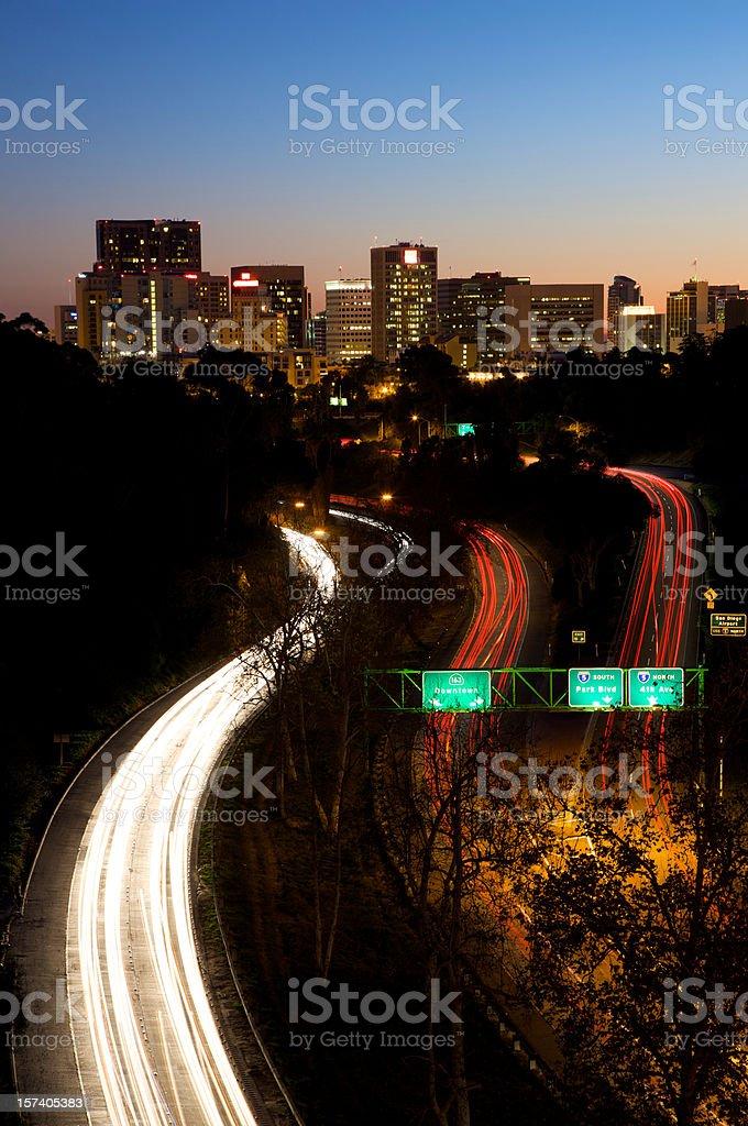Freeway traffic thru San Diego Downtown stock photo