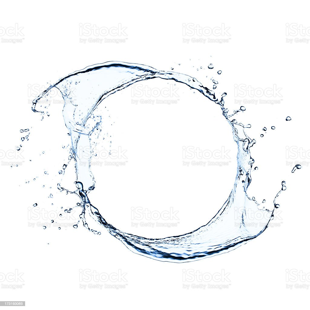 Freeze frame photo of splashing water swirl stock photo