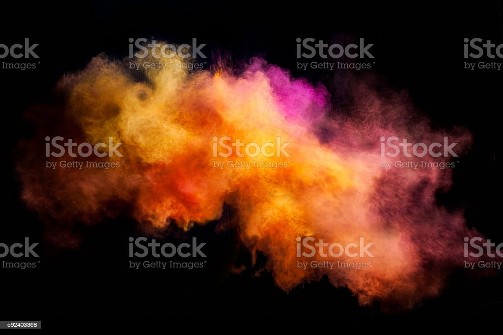 Freeze motion of colored dust explosion stock photo