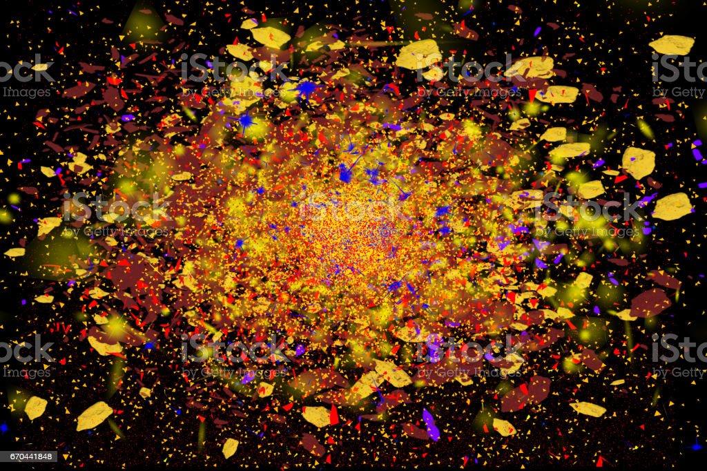 Freeze motion of colorful powder exploding, isolated on black stock photo