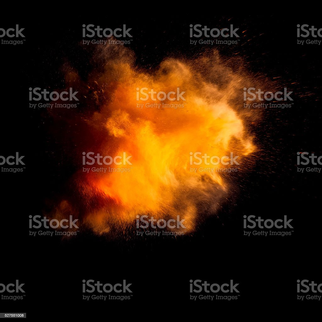 Freeze motion of yellow dust explosion stock photo