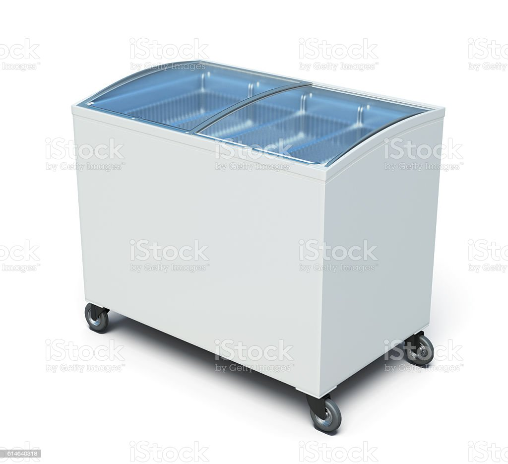Freezer chest isolated on white background. 3d render image stock photo