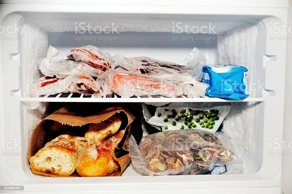 Freezer compartment of a refrigerator stock photo