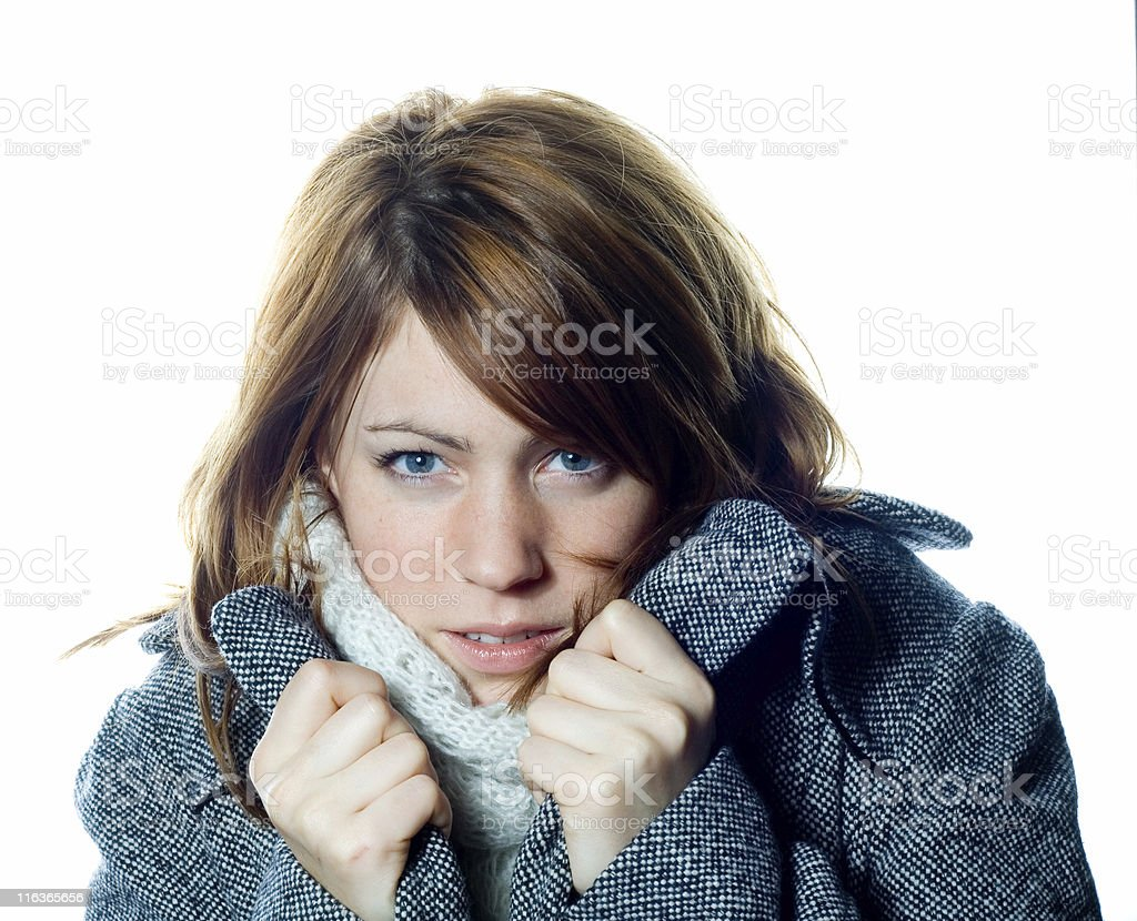 freezing girl royalty-free stock photo