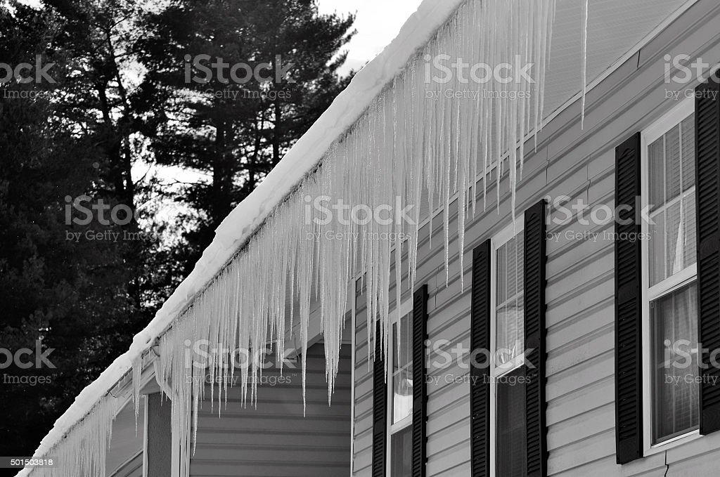 Freezing ice hazard from extreme winter storm conditions stock photo