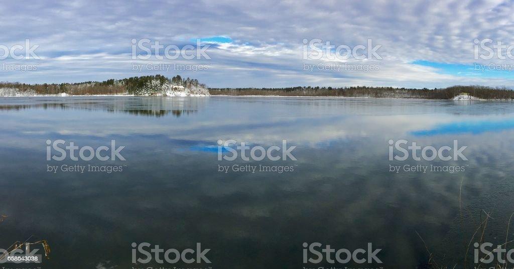 Freezing Lake Reflection stock photo