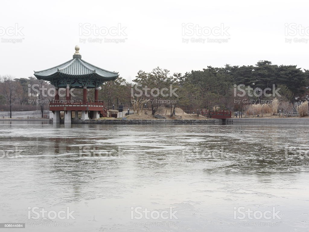 Freezing pond and pavilion tradional park in National Museum  Ko stock photo