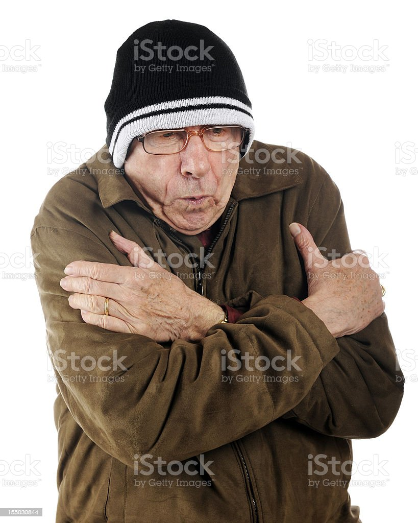 Freezing Senior stock photo