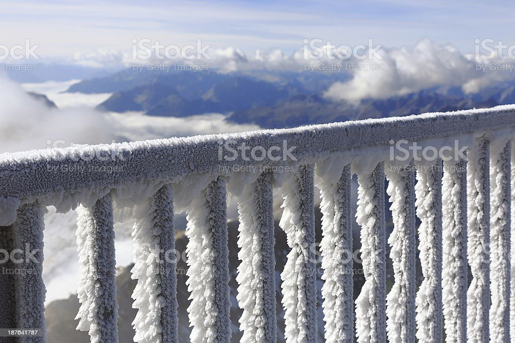 Freezing top of Zugspitze stock photo