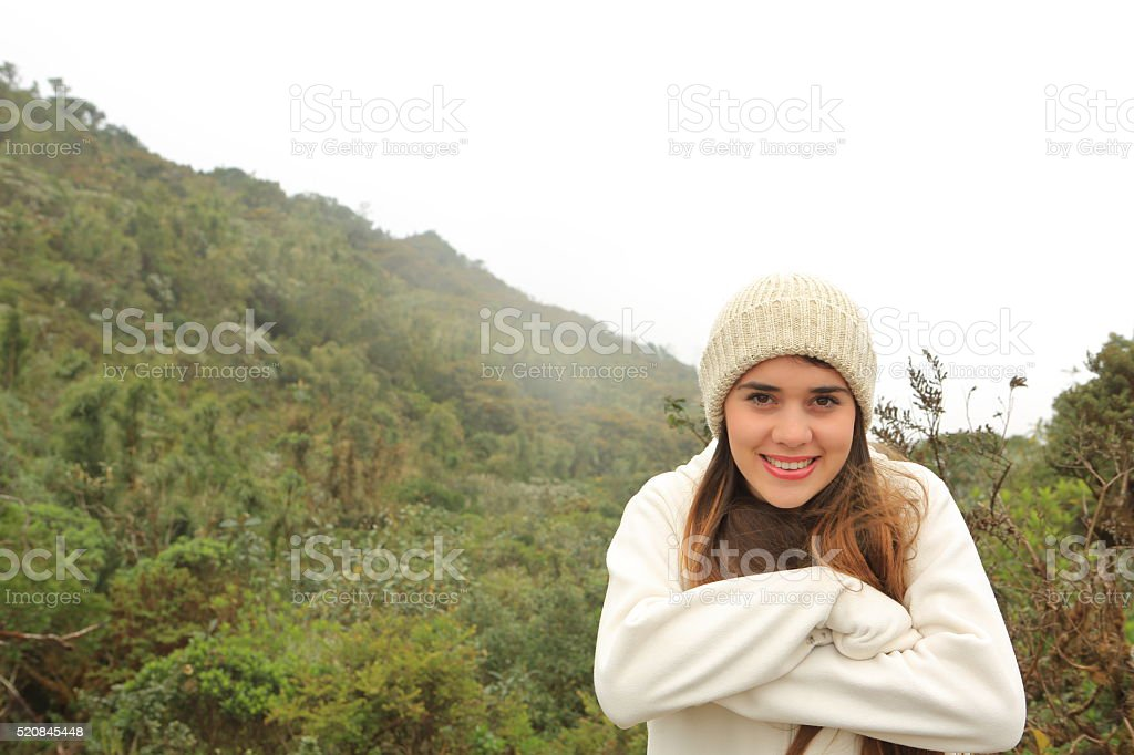 Freezing Young Lady stock photo