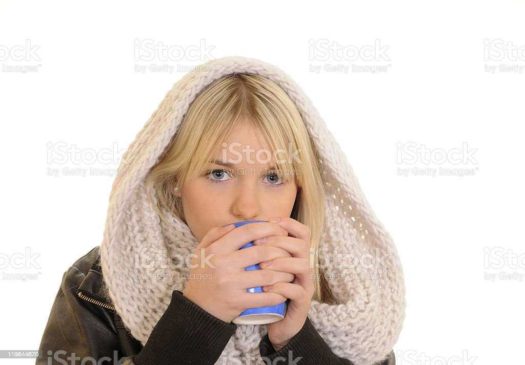 freezing young woman drinking royalty-free stock photo