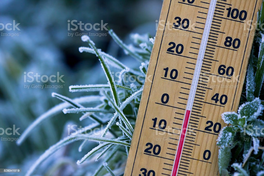 freezing Zero degree cold stock photo