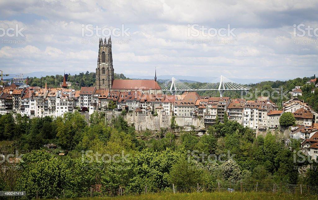Freiburg - Fribourg Town stock photo