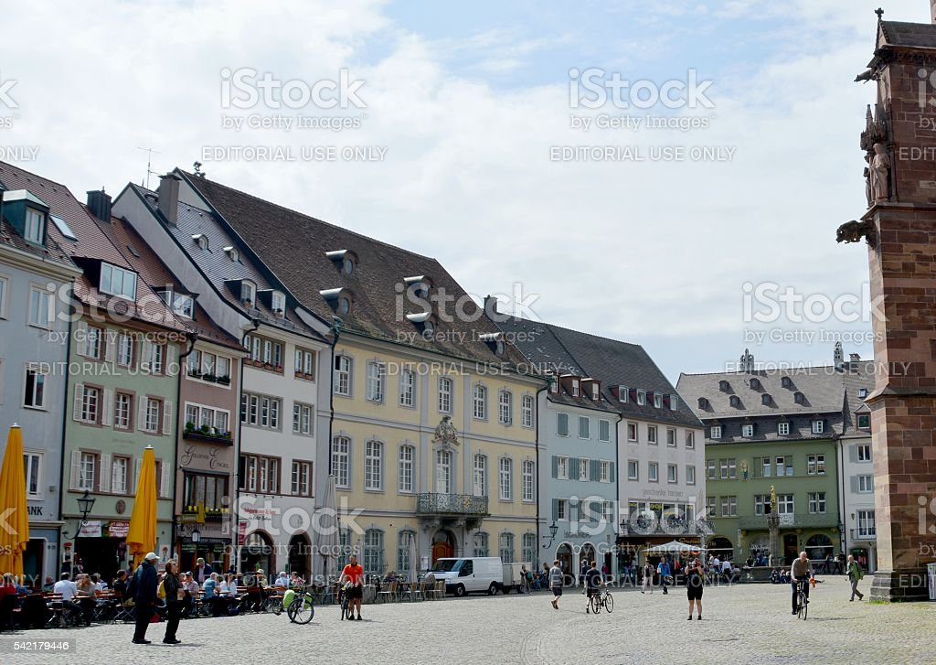 Freiburg minster square stock photo