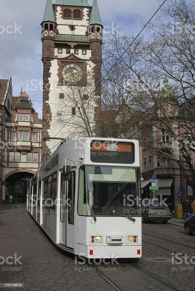 Freiburg White Tram royalty-free stock photo