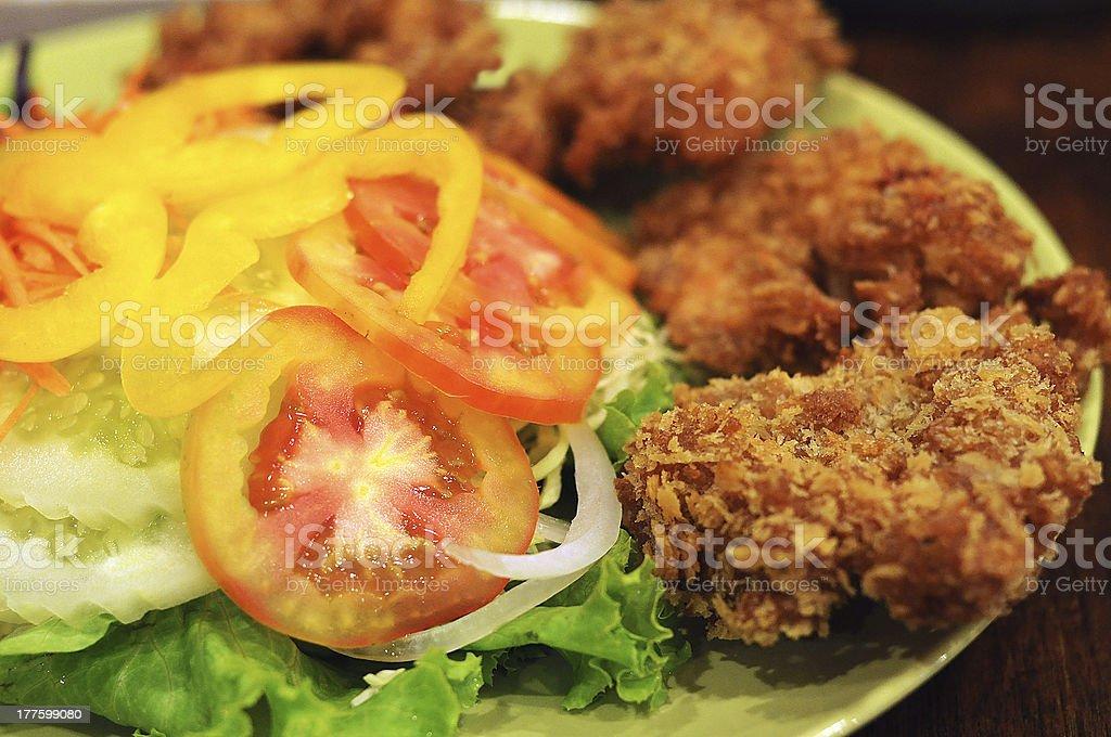 Freid shrimp salad stock photo