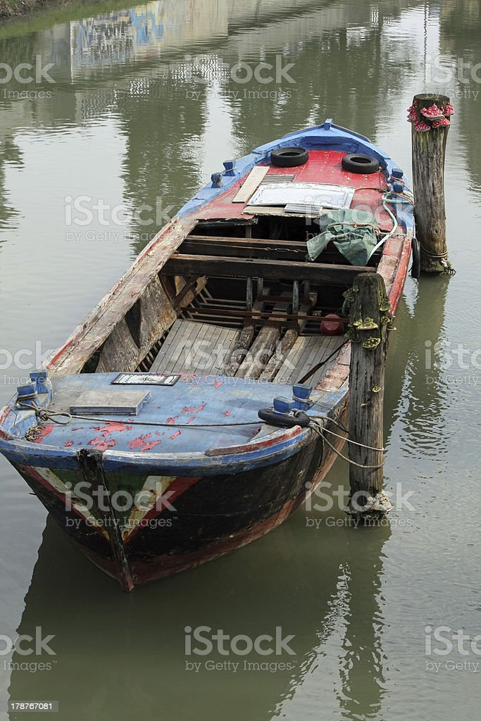 freight barge moored on the Canal before loading stock photo