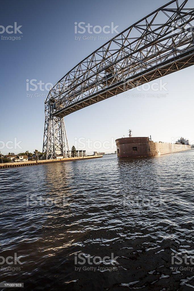 Freight Boat on Lake Superior stock photo