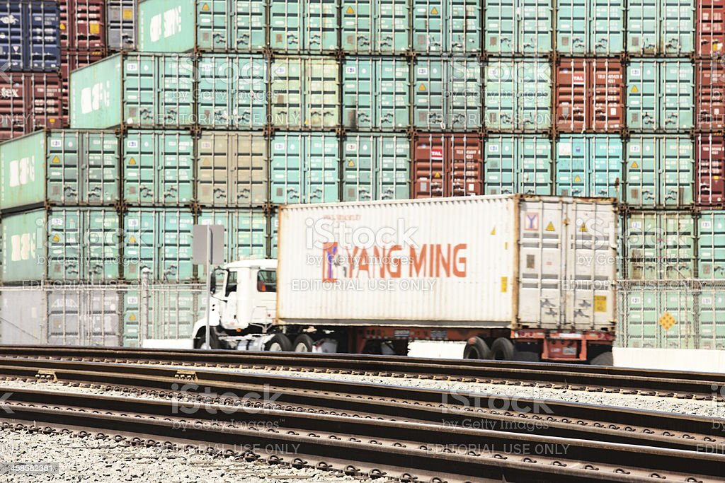 Freight Cargo Container Rail Trucking Industry royalty-free stock photo