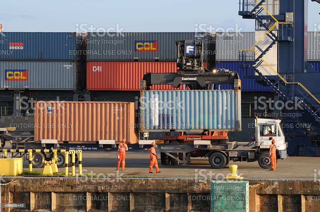 freight container loading on semi truck on dock, Cristobal, Panama royalty-free stock photo