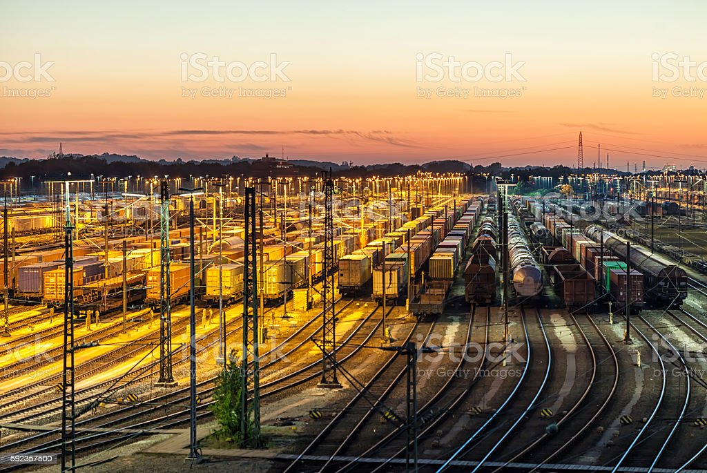 Freight depot at sunset stock photo