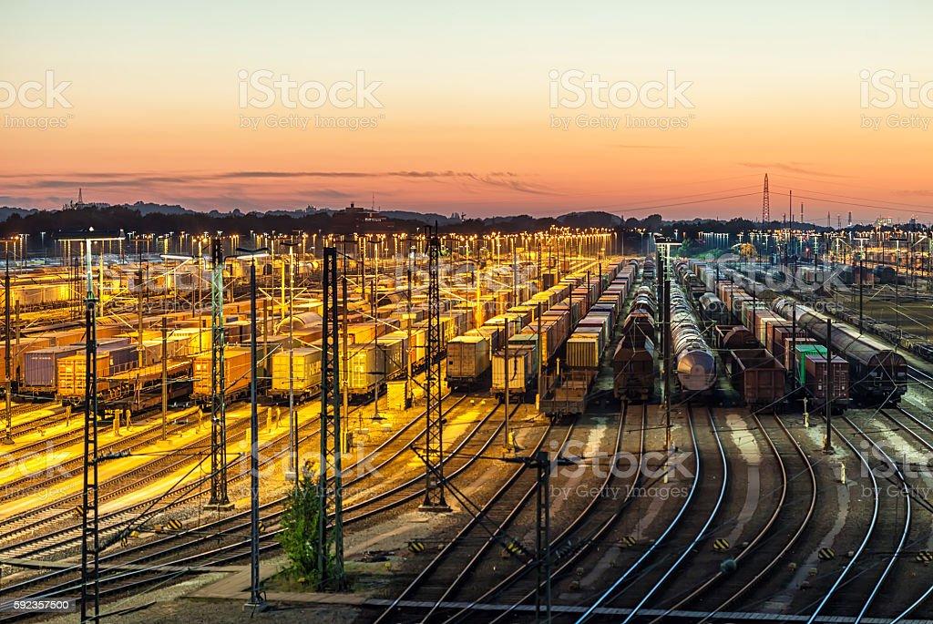 Freight depot at sunset stock photo