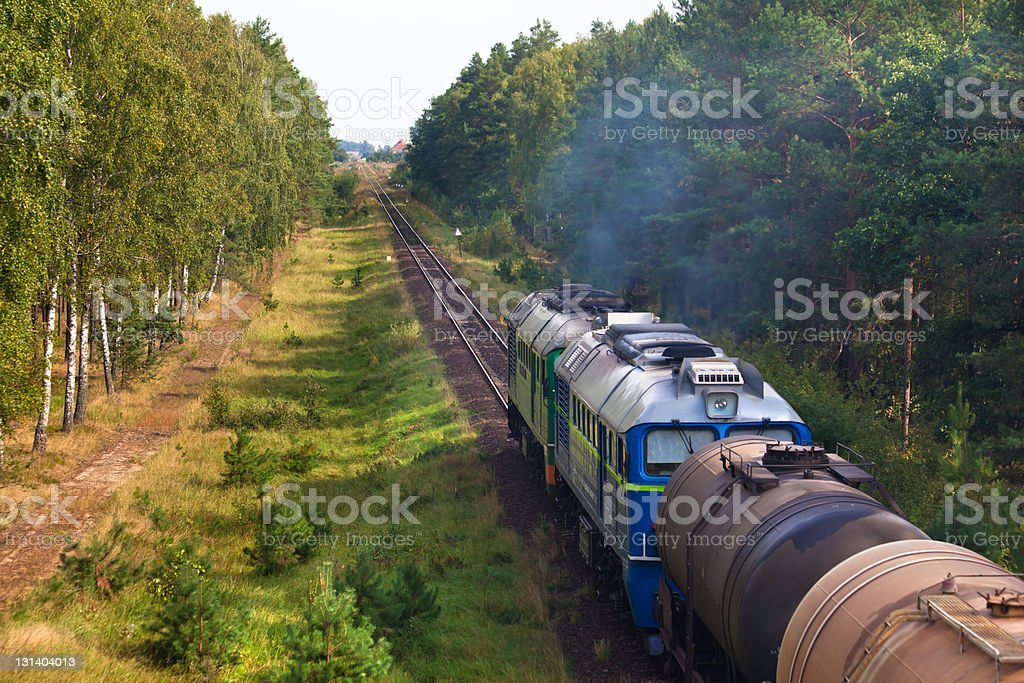 Freight diesel train royalty-free stock photo